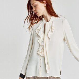 NWT Zara Ivory Ruffled Blouse   Size: XL